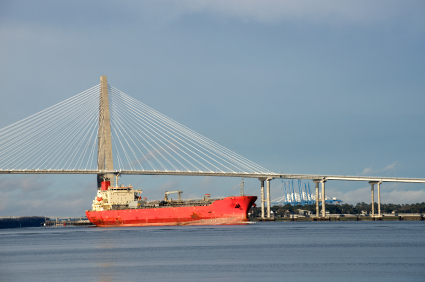 Container ship in Charleston Harbor going under the Ravenel Bridge.